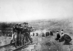 Austro-Hungarian troops executing captured Serbians.